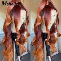 OMBRE Оранжевый коричневый цветной кружевной передний фронт человеческих волос парики для волос тела 4x4 Закрытие парик Remy Безлистый бразильский для женщин