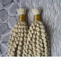 몽골어 AFRO 변두리 곱슬 대량 2 PCS 땋은 머리카락을위한 인간의 머리카락 꼰 머리카락 벌크 200g 땋은 머리카락 대량 벌크 없음