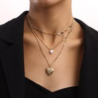 Chokers Vintage Boho Multilayer Pearl Choker Heart Pendant Chain Necklace For Women Hip Hop Gold Color Collar Wedding Party Jewelry Gift