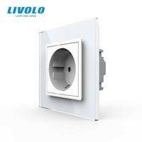 Pannello in vetro cristallo bianco standard LIVOLO UE, presa a muro AC 110 ~ 250 V 16A, VL-C7C1EU-11, NO