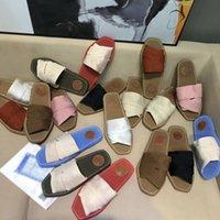 2021 Luxus Designer Sandalen Slipper Kreuz gewebt Römische Hausschuhe Schuhe Druck Slide Sommer Breite Flache Lady Leinwand Schriftzug Stoff Outdoor Leder Sohle