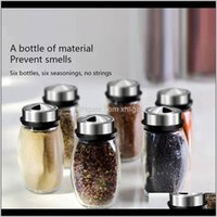 Herb Tools Kitchen, Dining Bar Home & Garden Drop Delivery 2021 6Pcs Set Rotating Stainless Steel Cruet Connt Spice Jars Set Salt And Pepper