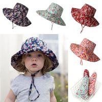 Ins bebê crianças chapéu capacete capacete impresso sunhats fashion topee linda menina menina cubeta chapéu 4 cores