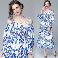 1126#2021 Spring and Summer Australian One Line Collar Lantern Sleeve Printed Drawstring Dress Long Skirtb36k