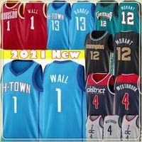 Top 1 John Jersey Wall Ja 12 Jerseys Morant Mens Russell 4 Westbrook Basketball Jerseys S-XXL Bleu Rouge Noir Blanc
