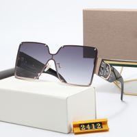 Lüks 2412 Marka Polarize Güneş Erkekler Kadınlar Klasik Lüks Pilot Tasarımcı Sunglass UV400 Gözlük Gözlük Bayan Erkek Metal Çerçeve Polaroid Lens