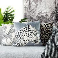 Cushion Decorative Pillow Leopard Print Cushion Cover Decorative Cute Case Modern Animal Collection Soft Velvet Coussin Sofa Chair Home Deco