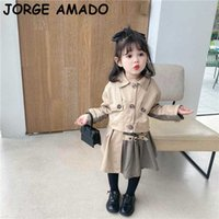 British Style Girl Sets Baby Long Sleeve Coat+plaid Skirt Fashion 2PCS Outfits Suit Clothes 1-7Y E57060 210610