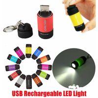 Горячий водонепроницаемый USB перезаряжаемый светодиодный светильник брелок фонарик брелок кольцевой лампы бусины карманные портативный мини факел встроенный литиевый аккумулятор