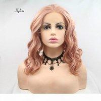 Sylvia 로즈 골드 핑크 곱슬 가발 복숭아 붉은 머리 합성 레이스 프론트 가발 내열성 섬유 짧은 머리 웨딩 파티 가발