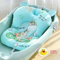 Cartoon Baby Shower Bath Tub Pad Non-Slip Bathtub Mat born Safety Security Bath Support Cushion Soft Pillow Drop 210924