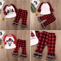 Merry Christmas bufflo plaid pajamas kids girls blouses hoodie tops and flounce pants outfits two piece tracksuit homewear Xmas clothing casual sport suit H914OD26