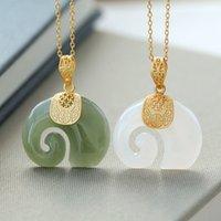 Vintage Blanco Hetian Jade Sapphire Elefante Colgante Collar de señora Acero inoxidable 18k Joyería de cadena chapada en oro para mujeres