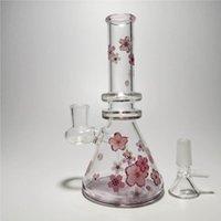 7 polegadas rosa flores de cerejeira pintado bongs de vidro artesanal em narguilé para fumar com 14mm tigela tubulações de água plataformas copo de presente