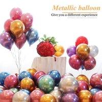 بالون اللاتكس المعادن كروم اللون سماكة البالونات اللؤلؤ الطفل استحمام الزفاف حفلة عيد حفر تخطيط الديكور DHC7496