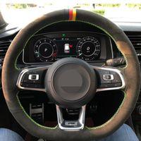 El-dikişsiz kaymaz Siyah Hakiki Deri Süet Araba Direksiyon Kapak Volkswagen Golf 7 GTI / Golf R MK7 VW Polo Gti