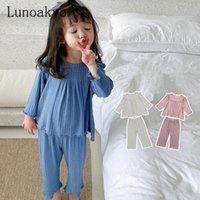 Conjuntos de ropa Lunoakvo Niños Sleepwear Baby Nightwear Pijamas Niños Homewear Manga completa Cotton Girls Pijamas
