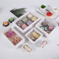 الأبيض شفافة البسكويت مربع المعجنات هدية غطاء كعكة الخبز صناديق التعبئة والتغليف ورقة هدايا مربع مخصصة AHE6169