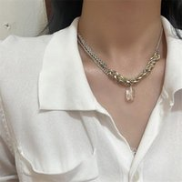 Chains Trendy Hit Color Knitting Chain Transparent Resin Pendant Necklace For Women Girl Metal Geometric Choker Necklaces Party Jewelry