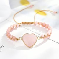Women Rose Quartz Heart Stone Charm Pink Jasper Bead String Braided Bracelet Handwoven Natural Adjustable Wrap Bracelets Tennis
