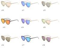 DHL Ship Metal Cat Eye Sunglasses Hommes et femmes Verres de grenouilles colorées Accessoires de mode européen et américain