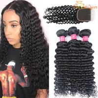 Бразильская глубокая волна с закрытием глубокие волны пакеты волос с закрытием человеческих волос Weaves волос 4x4 закрытие