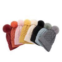 Winter Ball Beanie Caps Warm Hats Mens Women Skull Bonnet Outdoor Fashion Knitted Hat Wool Thick Fur Cap Pom Crochet Beanies Gorros Soft High Quality