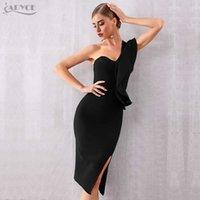 ADYCE Summer One Shoulder Women Bandage Dress Celebrity Evening Party Sexy Ruffle Midi Black Bodycon Club 210608