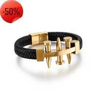 Bracelet Wind Nail Leather Bracelet Fashion Brand Simple Titanium Steel Jewelry Hand Woven Stainless