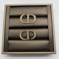 D family dijiafeng CD letter inlaid with diamond Rhinestones temperament fashion versatile brooch hairpin accessories female