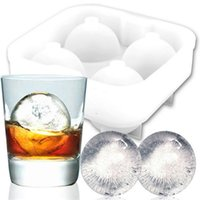 Ice Balls Maker Utensils Gadgets Mold 4 Cell Whiskey Cocktail Premium Round Spheres Ice Cube Mold Bar Kitchen Party Tools Tray Cube