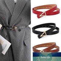 Luxury Women Belts Casual PU Leather Vintage Belt Ladies Golden Triangle Buckle Women's Trousers Waistband