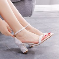 Sandals Women's high heels, crystal queen, buckle with white ankle, pearl, gladiator wedding shoes. OURY