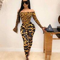 Kvinnors Jumpsuits Rompers 2021 Est Women Off Shoulder Leopard Snake Skin Långärmad Jumpsuit Romper Toppar Kvinna Sexiga Sheath Clubwear 2pcs
