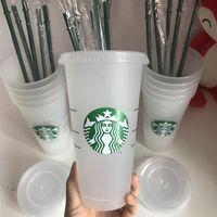 Starbucks CUP 24oz 710ml 16OZ Plastic Tumbler Reusable Clear Drinking Flat Bottom Cup Pillar Shape Lid Straw Mugs Bardian 50pcs Free DHL