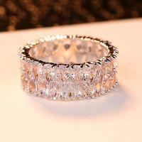 Vintage Bride Wedding Ring Luxury Fashion Silver Color Love Engagement Boho Female Big Crystal Zircon Stone Rings For Women