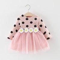 Girl's Dresses 2021 Spring Infant Baby Girls Long Sleeve Polka Dot Daisy Flower Cotton Dress Clothing