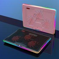 Ajazz AHC160 전문 게임 노트북 냉각 패드) RGB 조명 효과 음소거 조정 가능한 각도 USB 듀얼 포트 팬