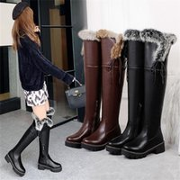 Boots Lapolaka Fashion Women Winter Comfy Warm Plush Knee High Faux Fur Solid Med Heel Over-the-Knee