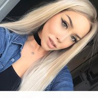 Platin Blonde Spitze Front Perücke Synthetische Hitzebeständige Faser Vollständige Frauen Haar Synthetische Latefront Perücken Lange Blondine für weiße Frauen