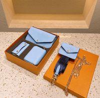 Mujeres de 3 piezas Set Wallet Luxurys Cadena de Alta Calidad Bolsa de Hombro Diseñadores Crossbody Bolsos Estilo Damas Bolsos Messenger Monedero