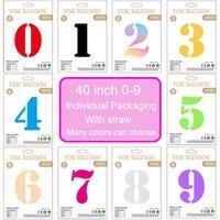 Индивидуальная упаковка 40-дюймовый номер баллона 0-9 номеров алюминиевые фольги шары на день рождения свадьба украшения