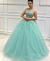 2021 Plus Size Lace Beaded Sexy Quinceanera Dresses High Neck Ball Gown Tulle Pageant Evening Prom Gowns ZJ475