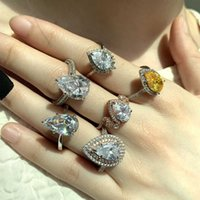 Design damp hand decoration new pear shaped water drop zircon 925 silver gift girl friend Gift Ring cool
