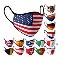 15 Style National Flags US UK Flag Mask Pure Cotton Dustproof Washable Reusable Face Masks HWE8685