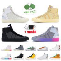 Off White Nike Blazer Mid 77 Vintage Kadın Erkek Günlük Ayakkabılar Grim Reaper Wolf Gri Serena Queen Indigo Catechu Platform Trainer Low Classic Green Sneakers