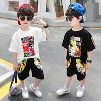 Baby Clothing Sets Boy Suit Boys Suits Children Summer Cotton Short Sleeve Cartoon T-shirts Pants Shorts Casual Kids Tracksuit 2-7Y B4861
