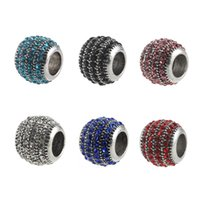 Silver Charm Beads Rhinestone Charms Bead Fit Pandora Bracelets & Necklace Fashion Jewelry DIY Accessories