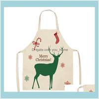 Aprons Textiles Home & Gardenchristmas Series Elk Car Cotton And Linen Anti-Fouling Adult Children Kitchen Housework Cleaning Apron Smock Dr