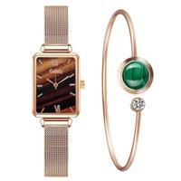 Женские часы модные квадратные дамы кварцевые часы браслет набор простой зеленый циферблат роза золотая сетка роскошь